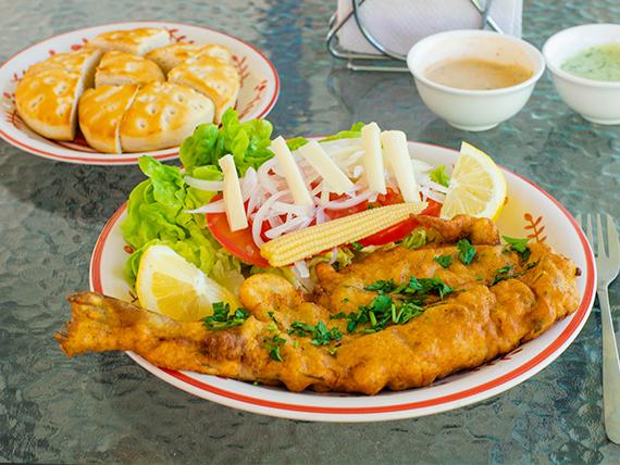Pescado frito o a la plancha con agregados