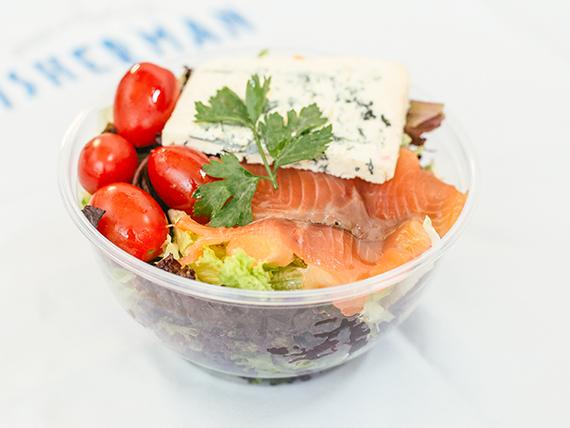 Ensalada verde con salmon y queso azul unidad 300 g