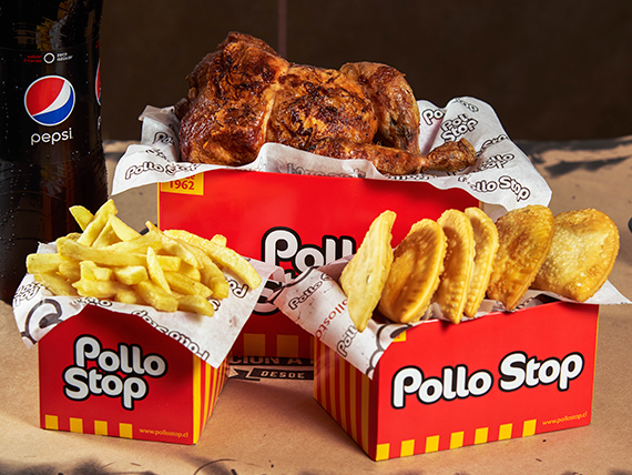 Promo 4 - Pollo entero + papas fritas simples + 5 empanadas de queso + bebida Pepsi 1.5 L