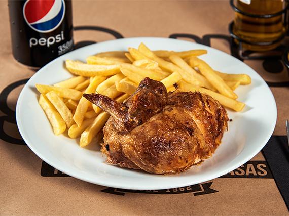 Promo - 1/4 de pollo con papas fritas regular + bebida en lata 350 ml