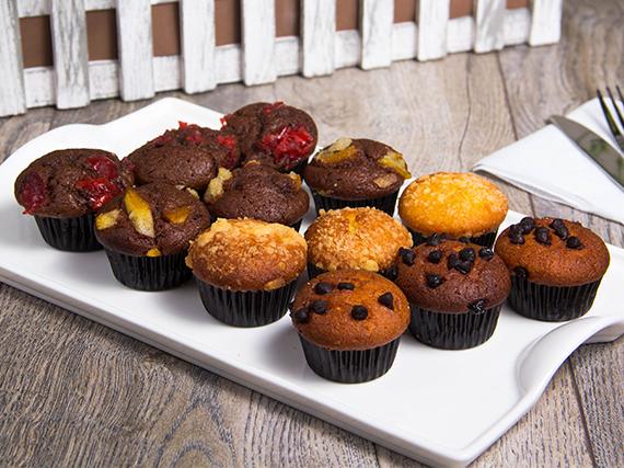 Promo - Bandeja de 12 mini muffin rellenos surtidos
