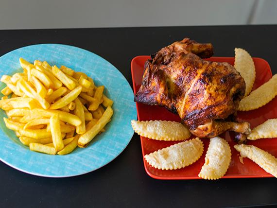 Chicken 2 - pollo entero + papas maxi + 12 empanadas de queso + bebida 1.5 L