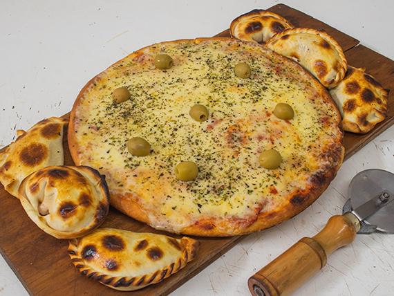 Promo - Pizza muzzarella grande + 6 empanadas