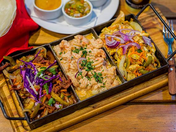Combo taquiza - Porción de nachos + 3 tacos de lomo + 3 tacos de pollo + 3 tacos de langostino + 5 salsas