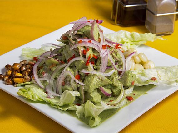 Ceviche de la casa (crema cilantro)
