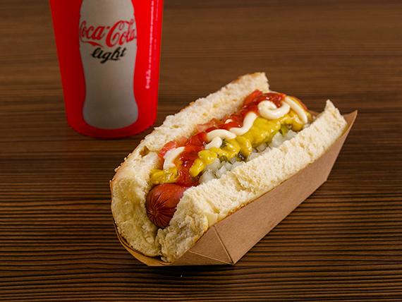 Combo hot dogs - Premium dog (pan con salchicha) + soda de 16 oz