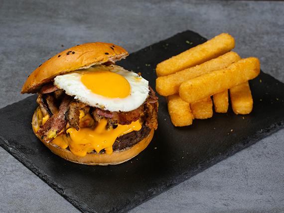 Combo - The heart attack burger + acompañamiento + bebida