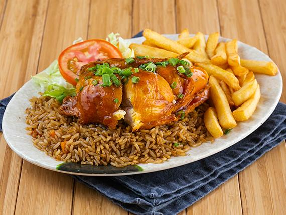 Combo 2 - Pollo asado + arroz frito + papas fritas + ensalada + soda en lata 355 ml