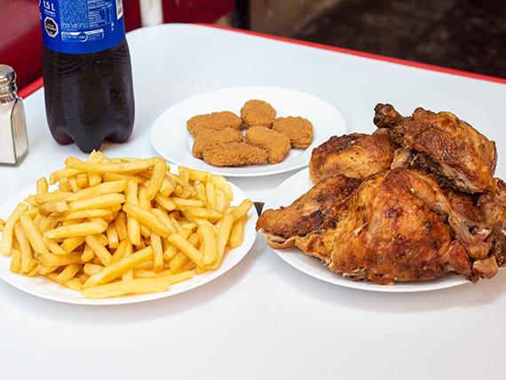 Promo Spiedo 2 - 5 trutros + papas fritas (porción grande) + 6 nuggets + bebida 1.5 L