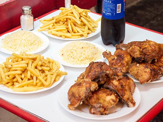 Promo Spiedo 4 - 10 trutros + papas fritas (2 porciones grandes) + arroz (2 porciones) + bebida 1.5 L