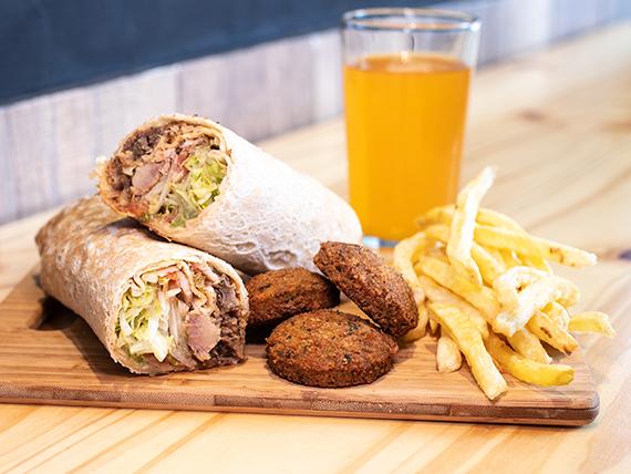 Combo - Sándwich de shawarma súper + Papas fritas + Bebida 250 ml