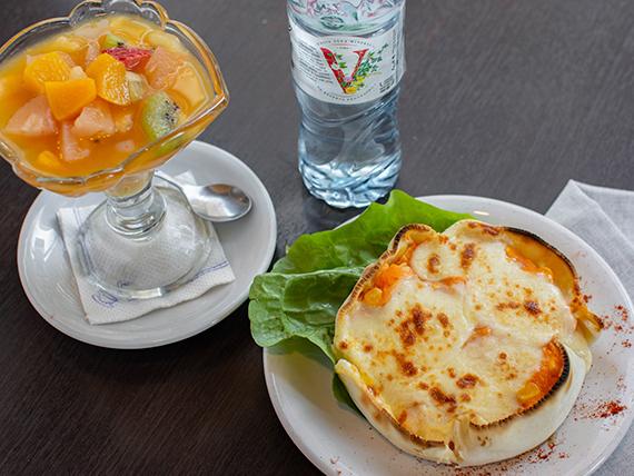 Promo - Tarta super calabaza  + agua mineral 500 ml + ensalada de frutas