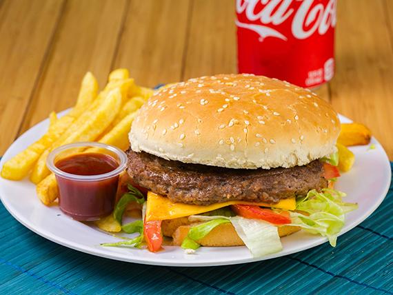 Combo - Hamburguesa + Papas fritas + Soda 335 ml