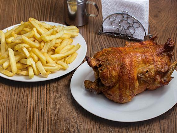 Promo - pollo entero + papas fritas medianas