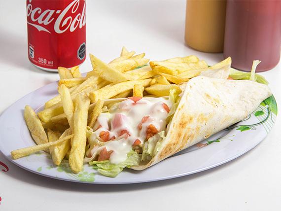 Combo 4 - Fajita + papas fritas + bebida 350 ml