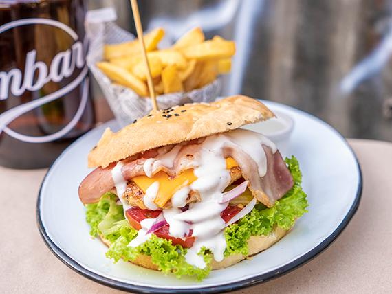 Chicken bacon burger