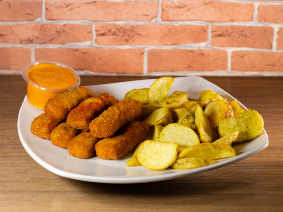 Finger de pollo (7 unidades) + papas fritas + salsa a elección