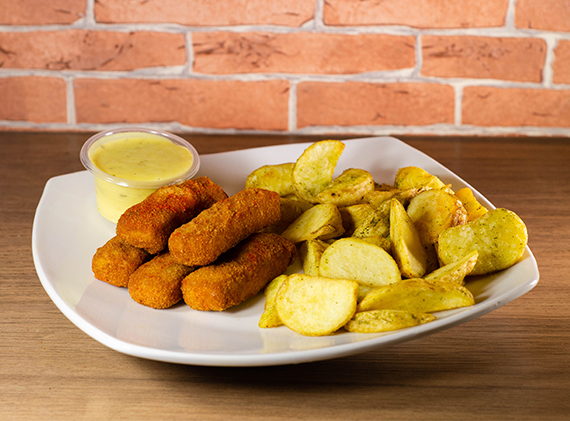 Finger de pollo (5 unidades) + papas fritas + salsa a elección