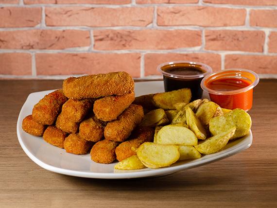 Finger de pollo (12 unidades) + papas fritas + 2 salsa a elección