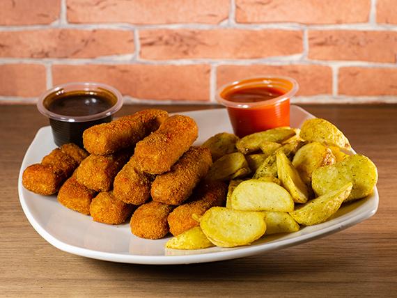 Finger de pollo (10 unidades) + papas fritas + 2 salsa a elección