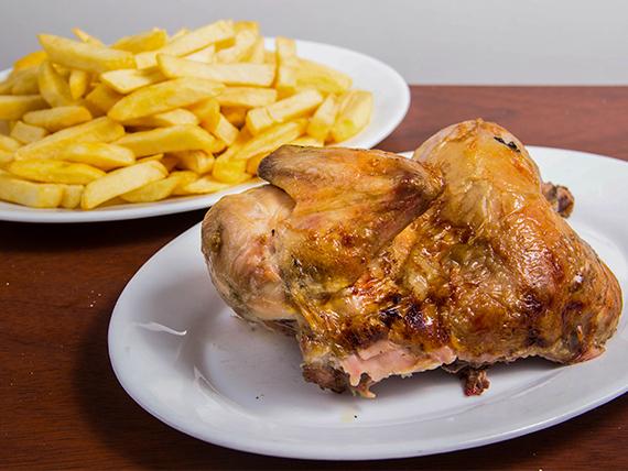 Combo - 1/2 pollo + papas fritas (porción mediana)