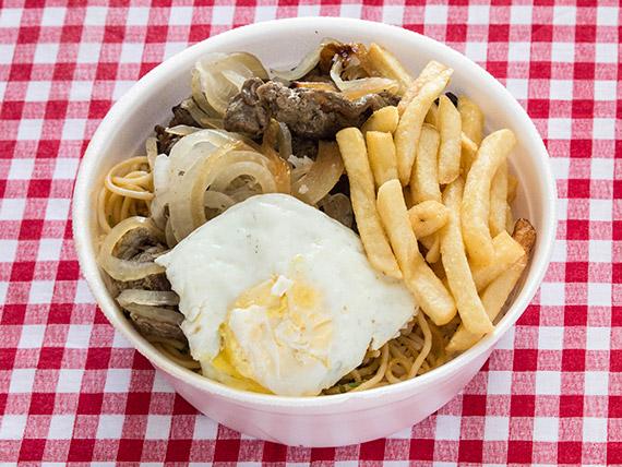 Marmitex 19 - Bife acebolado, macarrão, batata frita e ovo.