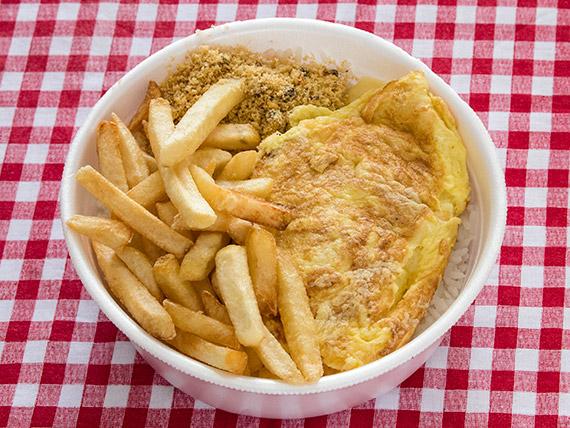 Marmitex 20 - Omelete, arroz, feijão, batata frita e farofa.