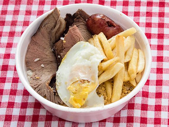 Marmitex 2 - Linguiça, churrasco, arroz, ovo frito e fritas