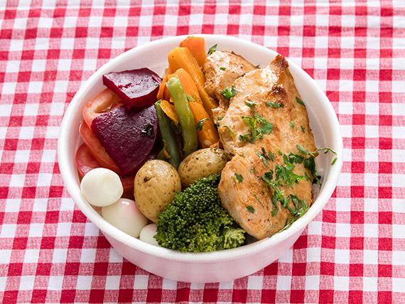 Marmitex 6 - Filé de frango, legumes e arroz