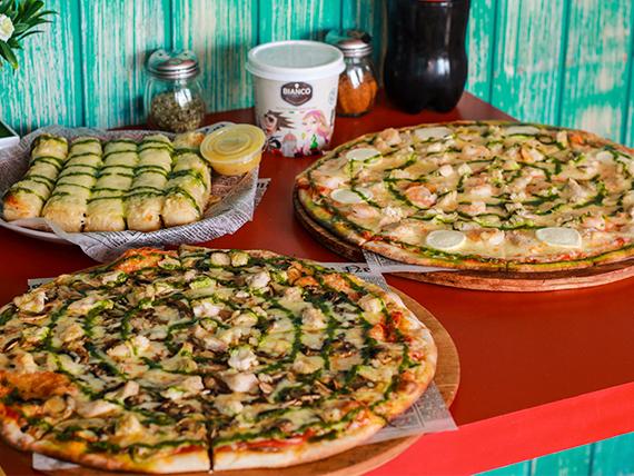 Sugerencia 4 - 2 Pizzas medianas + Bastones de ajo y queso parmesano + Helado + Bebida 3 L