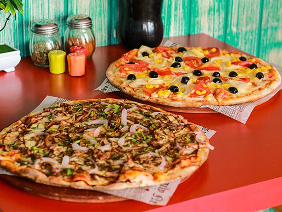 Sugerencia 1 - 2 Pizzas medianas + Bebida 1.5 L