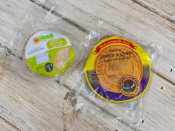 Milanesa de mijo rellena (4 unidades) + milanesa de soja rellena (4 unidadess)
