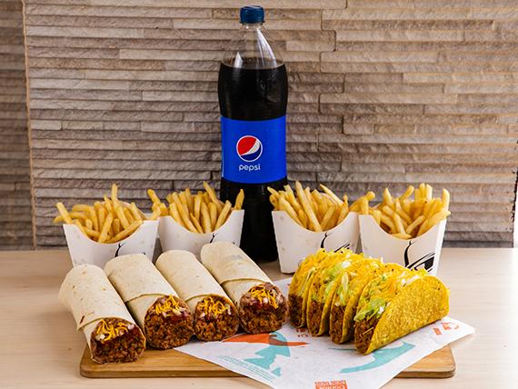Combo Pa Parkiar - 4 Crunchy tacos de carne + 4 1/2 LB Burritos combinados + 4 Papas fritas + Bebida Pepsi 1.5 L