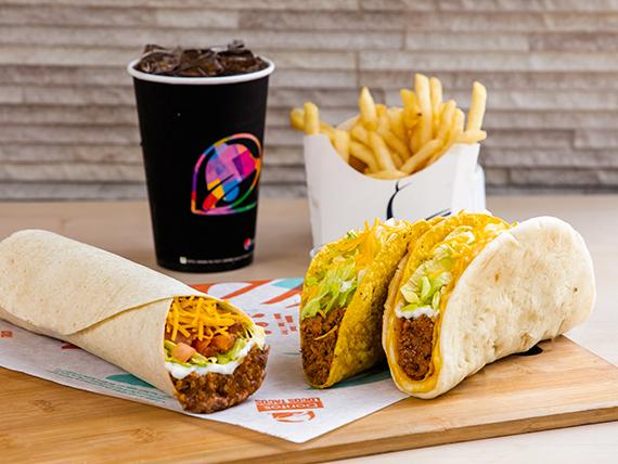 Big Bell Box - Burrito Supreme, Gordita Crunch, Crunchy Taco + Papas fritas + Soda 16 oz