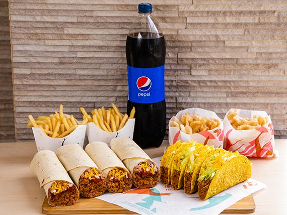 Combo Pa Parkiar - 4 Crunchy tacos de carne + 4 1/2 LB Burritos combinados + 2 Cinnamon twist + 2 Papas fritas + Bebida Pepsi 1.5 L