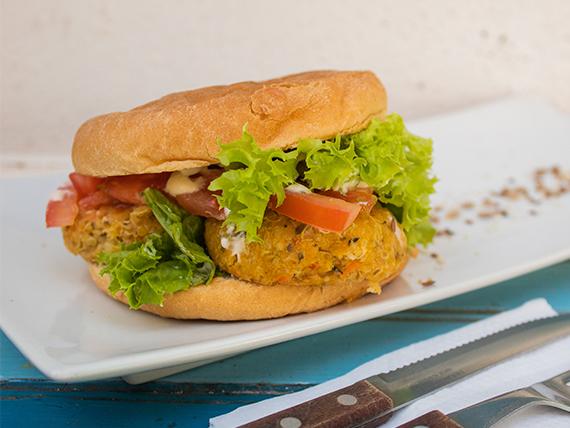 Sándwich de hamburguesa de garbanzo