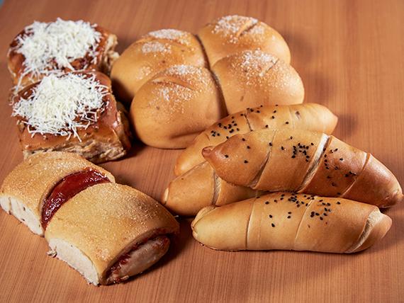 Combo para compartir - 4 cachitos de jamón + 4 panes dulces + 2 golfeados con queso + 2 guayabitos + bebida 1.5 L