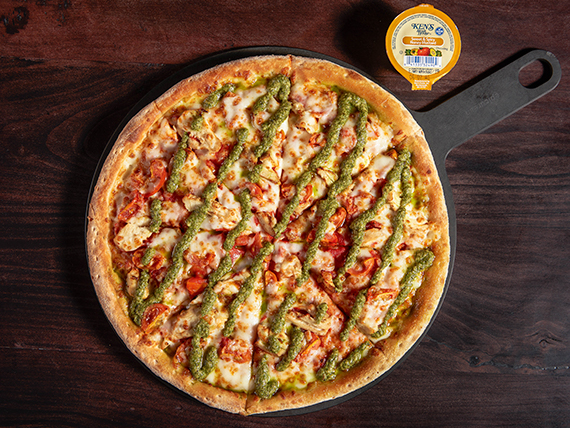 Pizza chicken pesto mediana