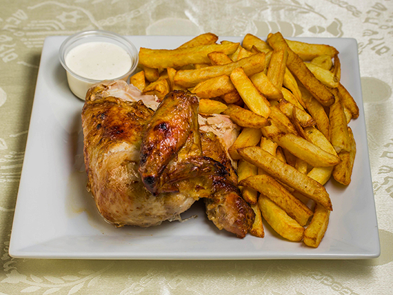 Pollo a la braza 1/4 con papas