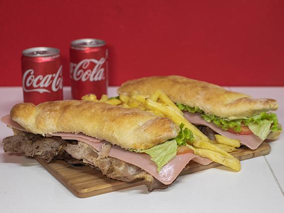 Promo - 2 sándwiches fusión a elección + papas fritas + 2 latas de Coca cola mini