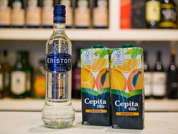 Promo - Vodka Eristoff 750 ml + 2 jugos Cepita naranja 1 L