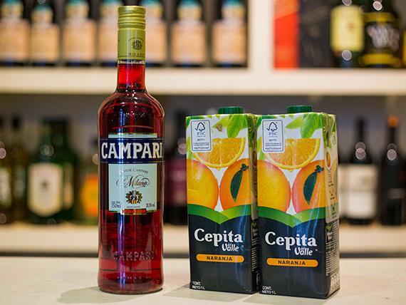 Promo - Campari 1 L + 2 jugos cepita naranja  1 L