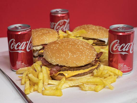 Promo - 3 hamburguesas dobles caseras  + papas fritas + 3 Coca Cola 220 ml
