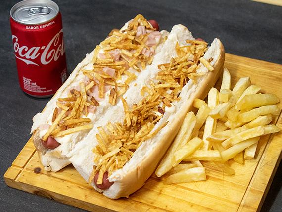 Promo 1 - 2 hot dogs a elección + papas fritas + Coca Cola 220 ml