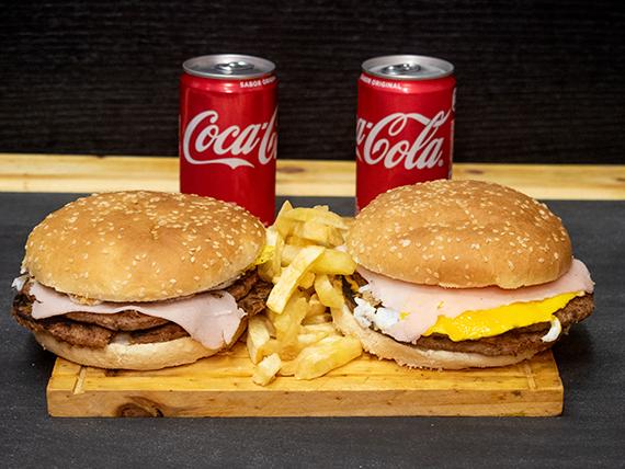 Promo 5 - 2 hamburguesas dobles + papas fritas + Coca Cola 220 ml