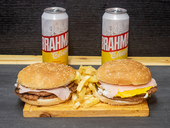 Promo 18 - 2 hamburguesas dobles + papas fritas + 2 latas Brahama 473 ml
