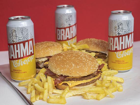 Promo - 3 hamburguesas caseras  dobles + papas fritas + 3 cervezas Brahma 473 ml