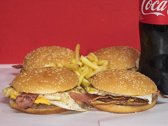Promo - 4 hamburguesas  caseras simples + papas fritas + Coca Cola 1.5 L