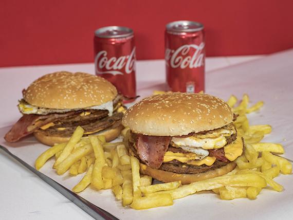 Promo - 2 hamburguesas caseras triples + papas fritas + 2 Coca Cola 220 ml