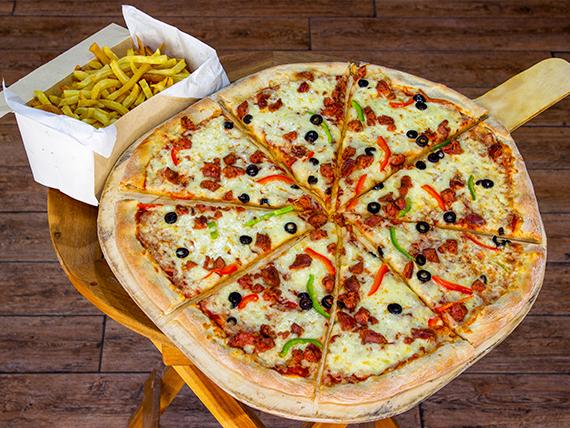 Promo 1 - 1 pizza familiar a elección + 1 kg de papas fritas